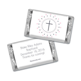 Baptism Personalized Hershey's Miniatures Wrappers Circled Cross