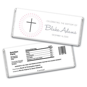 Baptism Personalized Chocolate Bar Wrappers Circled Cross