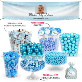 Personalized Boy Baptism Elegant Cross Deluxe Candy Buffet