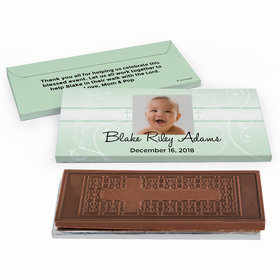 Deluxe Personalized Baptism Cross & Scroll Embossed Chocolate Bar in Gift Box
