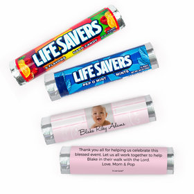 Personalized Baptism Cross and Scroll Lifesavers Rolls (20 Rolls)