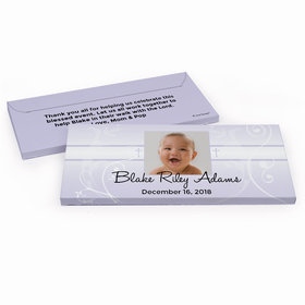 Deluxe Personalized Baptism Cross & Scroll Chocolate Bar in Gift Box