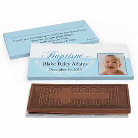 Deluxe Personalized Baptism Photo & Scroll Embossed Chocolate Bar in Gift Box