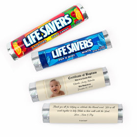 Personalized Baptism Certificate with Photo Lifesavers Rolls (20 Rolls)