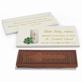 Deluxe Personalized Baptism Candle Embossed Chocolate Bar in Gift Box