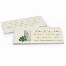 Deluxe Personalized Baptism Candle Chocolate Bar in Gift Box