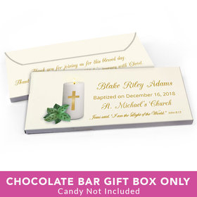 Deluxe Personalized Baptism Candle Candy Bar Favor Box