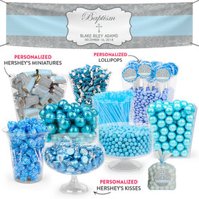 Personalized Boy Baptism Classic Cross Deluxe Candy Buffet