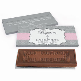 Deluxe Personalized Baptism Framed Cross Embossed Chocolate Bar in Gift Box