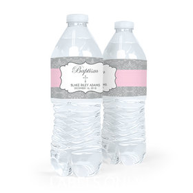 Personalized Girl Baptism Framed Cross Water Bottle Labels (5 Labels)