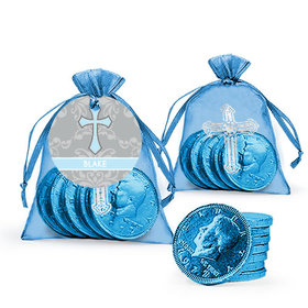 Personalized Baptism Framed Cross Milk Chocolate Coins in Organza Bags with Gift Tag