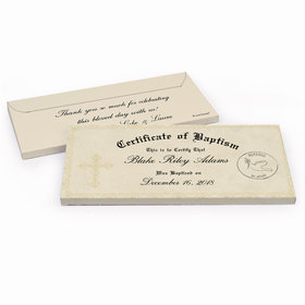 Deluxe Personalized Baptism Certificate Chocolate Bar in Gift Box