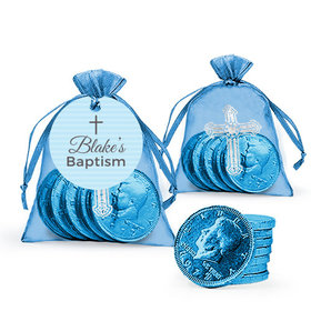 Personalized Baptism Blue Cross Milk Chocolate Coins in Organza Bags with Gift Tag