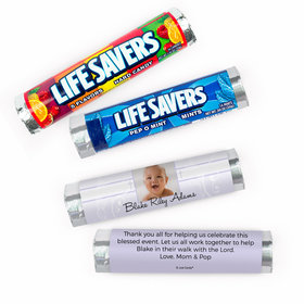 Personalized Baptism Baby Cross and Scroll Lifesavers Rolls (20 Rolls)
