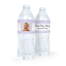 Personalized Boy Baptism Cross and Scroll Water Bottle Labels (5 Labels)