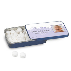 Personalized Baptism Photo and Scroll Mint Tin (12 Pack)
