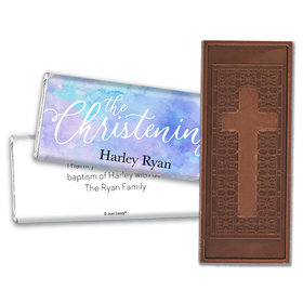 Personalized Watercolor Christening Embossed Chocolate Bar