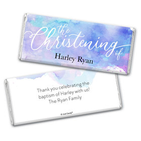 Personalized Watercolor Christening Chocolate Bar Wrappers Only