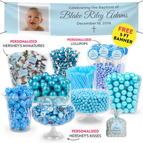 Personalized Boy Baptism Cross Deluxe Candy Buffet