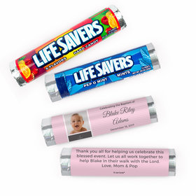 Personalized Baptism Baby Photo and Cross Lifesavers Rolls (20 Rolls)