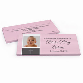 Deluxe Personalized Baptism Photo & Cross Chocolate Bar in Gift Box