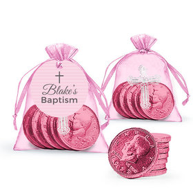 Personalized Baptism Pink Cross Milk Chocolate Coins in Organza Bags with Gift Tag