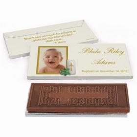 Deluxe Personalized Baptism Holy Candle Embossed Chocolate Bar in Gift Box