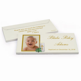 Deluxe Personalized Baptism Holy Candle Chocolate Bar in Gift Box
