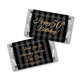 50th Birthday Personalized Hershey's Miniatures Wrappers Elegant Formal Pinstripes