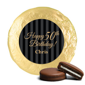 50th Birthday Chocolate Covered Oreos Elegant Formal Pinstripes (24 Pack)