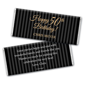 50th Birthday Personalized Chocolate Bar Wrappers Elegant Formal Pinstripes