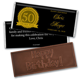 50th Birthday Personalized Embossed Chocolate Bar Age Seal