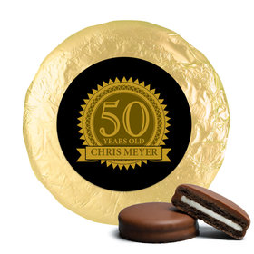 50th Birthday Chocolate Covered Oreos Age Seal (24 Pack)