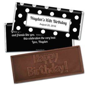 Birthday Personalized Embossed Chocolate Bar Polka Dot