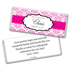 Birthday Personalized Chocolate Bar Wrappers Baroque Pattern