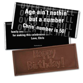 50th Birthday Personalized Embossed Chocolate Bar Over the Hill