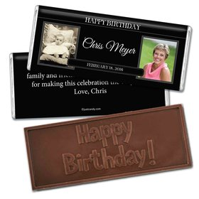 Birthday Personalized Embossed Chocolate Bar Monogram Then & Now Photos