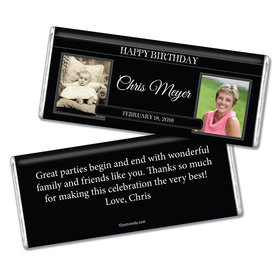 Birthday Personalized Chocolate Bar Monogram Then & Now Photos