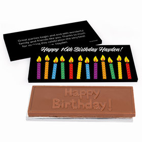 Deluxe Personalized Adult Birthday Lit Candles Chocolate Bar in Gift Box