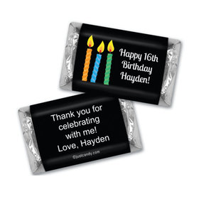 Birthday Personalized Hershey's Miniatures Wrappers Lit Candles