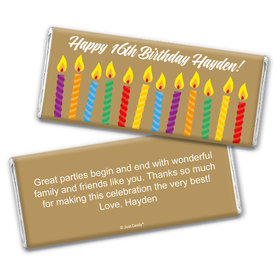 Birthday Personalized Chocolate Bar Wrappers Lit Candles