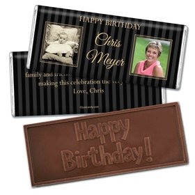 Birthday Personalized Embossed Chocolate Bar Pinstripe Then and Now Photos