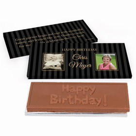 Deluxe Personalized Birthday Pinstripe Chocolate Bar in Gift Box