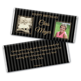 Birthday Personalized Chocolate Bar Wrappers Pinstripe Then and Now Photos