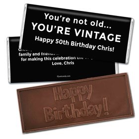 Birthday Personalized Embossed Chocolate Bar You're Vintage