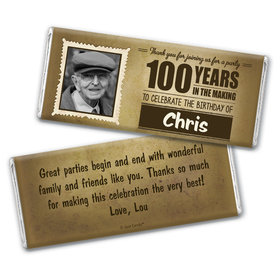 100th Birthday Personalized Chocolate Bar Wrappers Years in the Making Photo