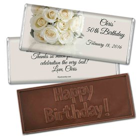 Birthday Personalized Embossed Chocolate Bar Classic White Rose Bouquet