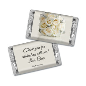 Birthday Personalized Hershey's Miniatures Wrappers Classic White Rose Bouquet