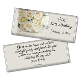 Birthday Personalized Chocolate Bar Classic White Rose Bouquet