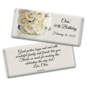 Birthday Personalized Chocolate Bar Wrappers Classic White Rose Bouquet